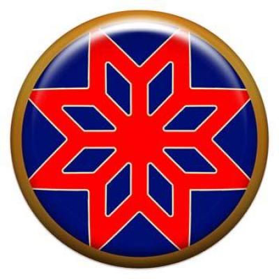 Оберег-наклейка  славянская объемная №74 Звезда Алатырь, 24мм